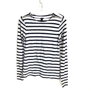 J Crew Striped Zipper Detail Tee